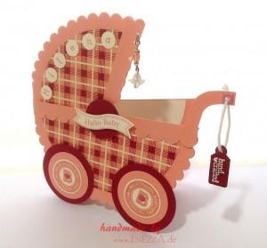Babykarte Geburtskarte Kinderwagen Taufe