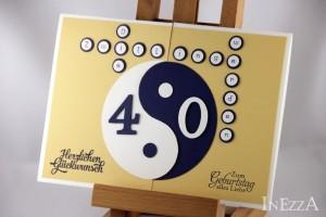 Zwillingskarten zum 40. Geburtstag Yin Yang