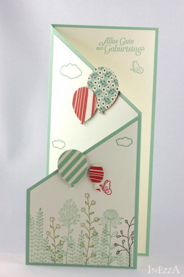 Kaskadenkarte als Geburtstagskarte mit Anleitung