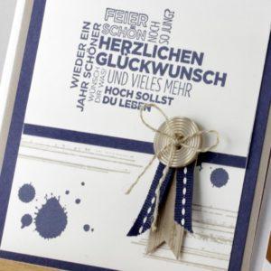 Schicke Geburtstagskarte mit Knopf – handmade