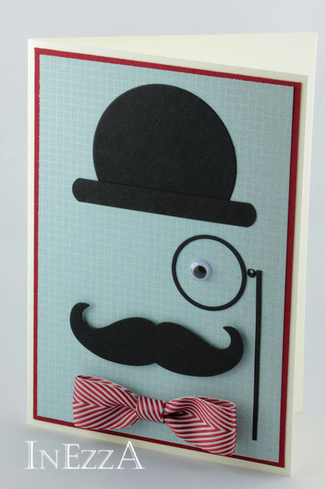 Anleitung Herrenkarte mit Schnurrbart und Hut