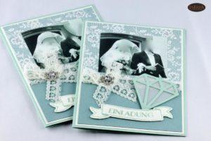 Vintage Einladungskarte zur Diamantenen Hochzeit mit Foto