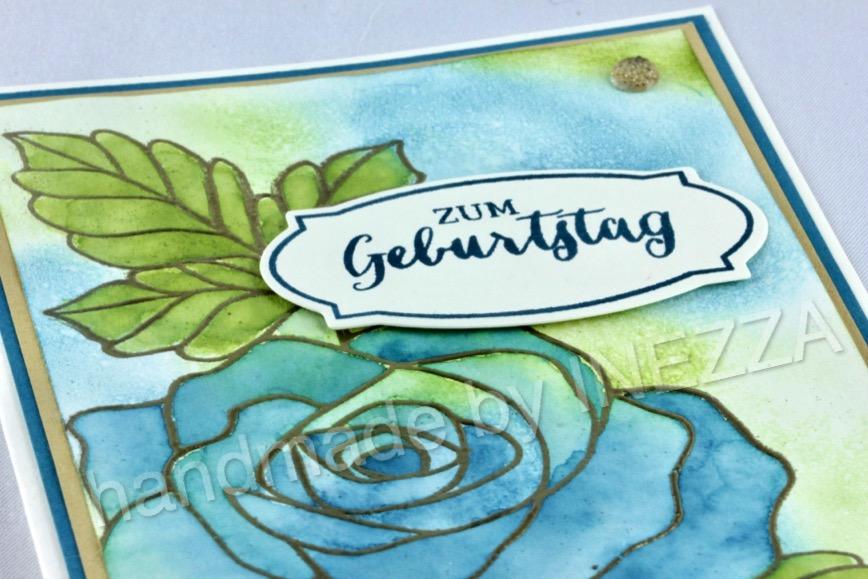 You are currently viewing Geburtstagskarte mit Rosenzauber – coloriert in Blau Grün