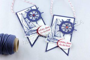 Anleitung Maritimer Wimpel – Goodie mit Schoki