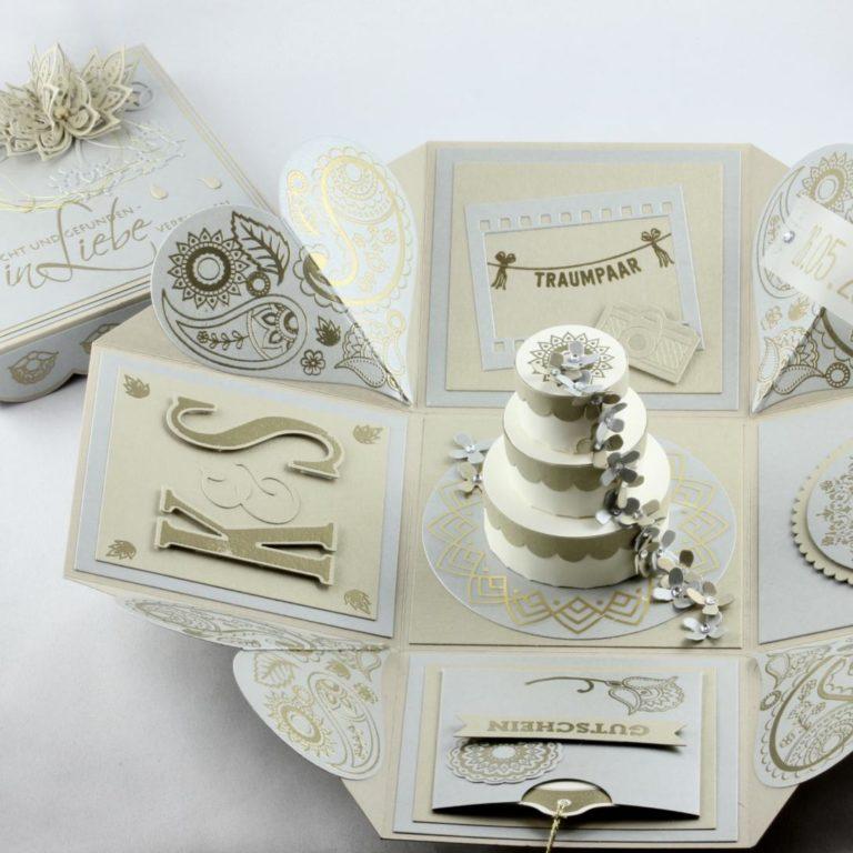 Explosionsbox zur Hochzeit mit Paisley-Muster in Silber und Gold