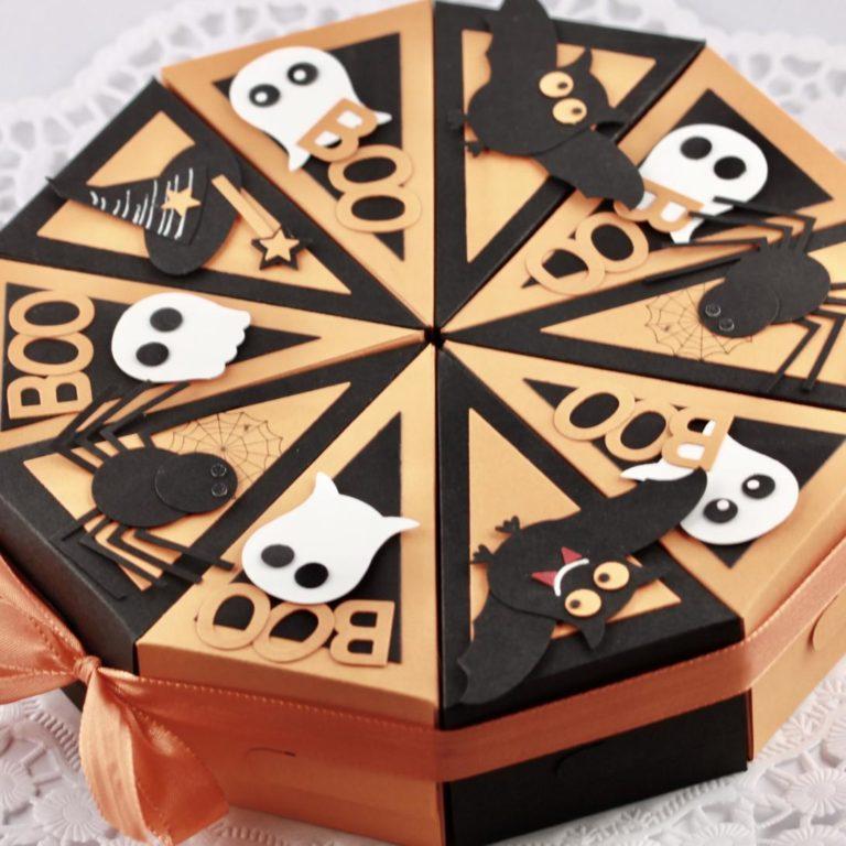 Schachteltorte für Halloween in Orange - Schwarz mit Spinne, Geist und Fledermaus